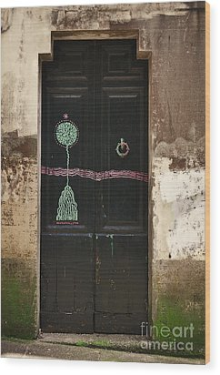 Decorated Door Wood Print by Mary Machare