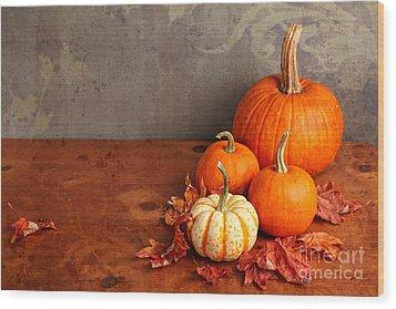 Decorative Fall Pumpkins Wood Print