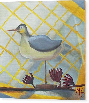 Wood Print featuring the painting Decoy On A Stand by Margaret Harmon
