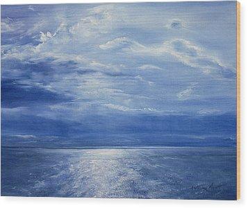 Deep Blue Sea Wood Print by Antonia Myatt