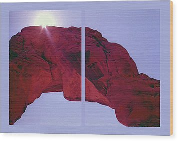 Delicate Arch Diptych Wood Print by Steve Ohlsen