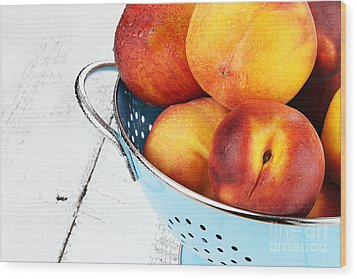 Delicious Peaches Wood Print by Stephanie Frey
