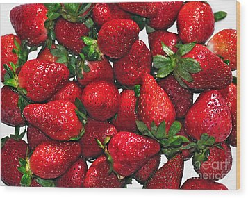 Deliciously Sweet Strawberries Wood Print by Kaye Menner