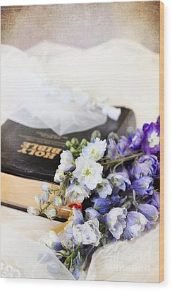 Delphiniums And Bible Wood Print by Stephanie Frey