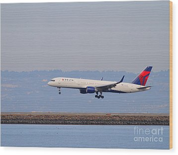 Delta Airlines Jet Airplane At San Francisco International Airport Sfo . 7d12183 Wood Print by Wingsdomain Art and Photography