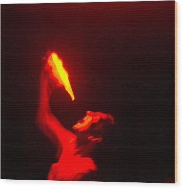 Demon Drinking Molten Lead Wood Print by Douglas Barnett