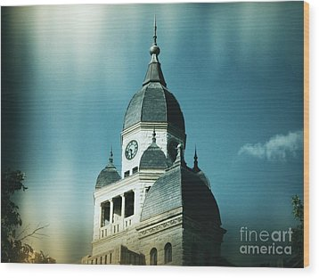 Denton County Courthouse Wood Print by Angela Wright
