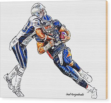 Denver Broncos Tim Tebow - New England Patriots Rob Ninkovich Wood Print by Jack K