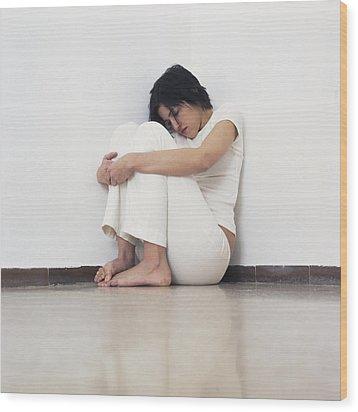 Depressed Woman Wood Print by Cristina Pedrazzini