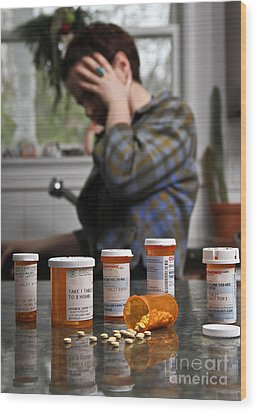 Depression And Addiction Wood Print by Photo Researchers, Inc.