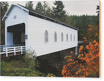 Wood Print featuring the photograph Derena Covered Bridge by Tyra  OBryant