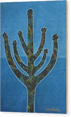 Wood Print featuring the painting Desert Blue by Lance Headlee