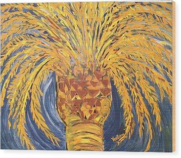 Desert Date Palm Tree Wood Print