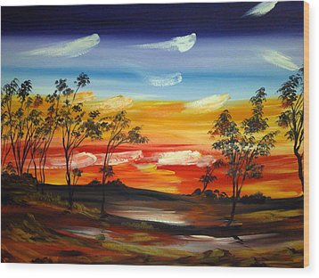 Wood Print featuring the painting Desert Fire by Roberto Gagliardi