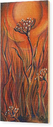 Wood Print featuring the mixed media Desert Flower by Nada Meeks