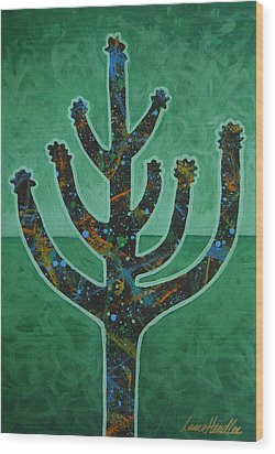 Wood Print featuring the painting Desert Green by Lance Headlee