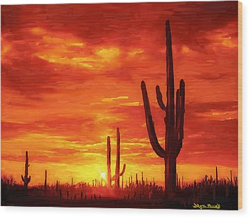 Wood Print featuring the painting Desert Heat by Wayne Pascall