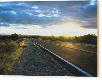 Desert Highway Wood Print