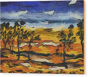 Wood Print featuring the digital art Desert Homage At Van Gogh by Roberto Gagliardi