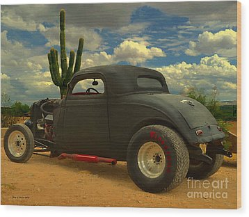 Desert Hot Rod Wood Print by Jerry L Barrett