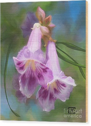 Desert Willow Floral Wall Art Wood Print by Judy Filarecki