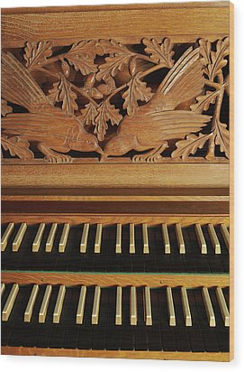 Detail Of A Pipe Organ With A Wooden Carving Wood Print by Gregor Hohenberg