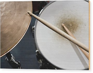 Detail Of Drumsticks And A Drum Kit Wood Print by Antenna