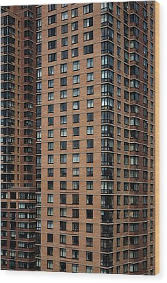 Detail Of High Rise-buildings, Manhattan, New York City, Usa Wood Print by Frederick Bass