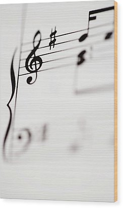 Detail Of Sheet Music Wood Print by Junior Gonzalez