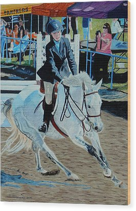 Determination - Horse And Rider - Horseshow Painting Wood Print by Patricia Barmatz