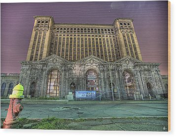 Detroit's Michigan Central Station - Michigan Central Depot Wood Print by Nicholas  Grunas