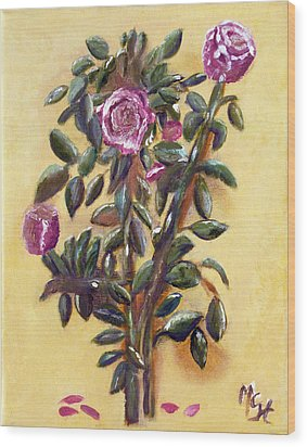 Wood Print featuring the painting Dew Upon The Roses by Margaret Harmon