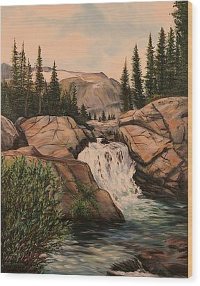 Dewey Falls Wood Print by Patti Gordon