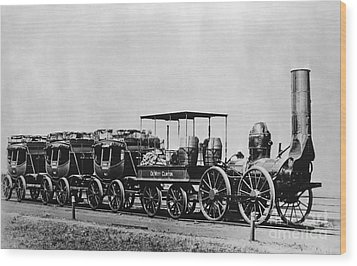 Dewitt Clinton Locomotive And Cars Wood Print by Omikron