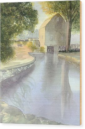 Dexter Grist Mill Reflections Wood Print by Joseph Gallant