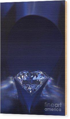 Diamond In Deep-blue Light Wood Print by Atiketta Sangasaeng