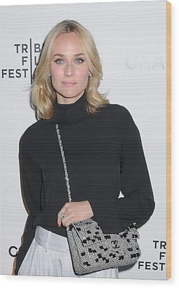 Diane Kruger Carrying A Chanel Bag Wood Print by Everett