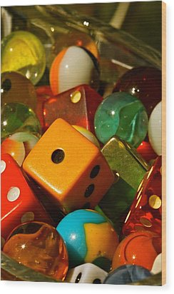 Dice And Marbles Wood Print by Michael Cinnamond