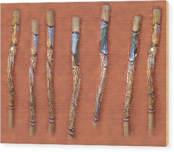 Didgeridoo Wood Print by Janice T Keller-Kimball