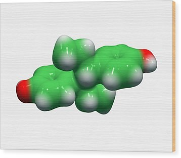 Diethylstilbestrol Drug Molecule Wood Print by Dr Tim Evans