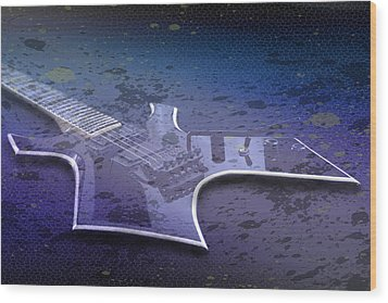 Digital-art E-guitar I Wood Print by Melanie Viola