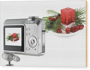 Wood Print featuring the photograph Digital Camera And A Christmas Bouquet Collage by Aleksandr Volkov
