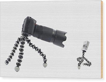 Digital Camera Comparison Wood Print by Sami Sarkis