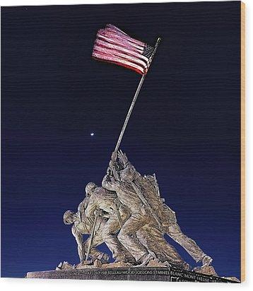 Wood Print featuring the digital art Digital Drawing - Iwo Jima Memorial At Dusk by Metro DC Photography