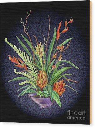 Digital Flowers Wood Print