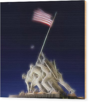 Wood Print featuring the photograph Digital Lightening - Iwo Jima Memorial by Metro DC Photography