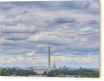 Digital Liquid - Clouds Over Washington Dc Wood Print by Metro DC Photography