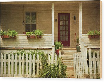 Digital Painting Of Front Porch Rural Farmhouse Wood Print by Sandra Cunningham