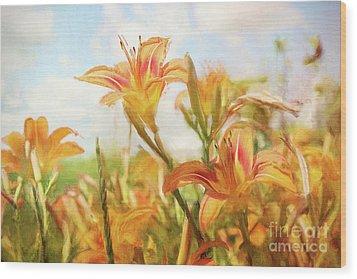 Digital Painting Of Orange Daylilies Wood Print by Sandra Cunningham