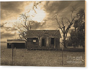 Dilapidated Old Farm House . 7d10341 . Sepia Wood Print by Wingsdomain Art and Photography